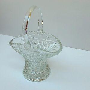 Lead Crystal Basket Vase with Handle
